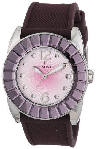 Festina Ladies Analogue Watch F16540/7 with Rubber Strap and Silver Dial
