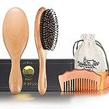 BFWood Brosse Cheveux Soie de Sanglier et Peigne pour Cheveux Normaux...