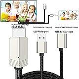 DIWUER HDMI Kabel zu Phone, USB 3.0 Digital HDTV AV Kabel Adapter für iPhone X 8 7 6 Plus 5 s 5 iPad und Android Smartphones zu TV Projektor Monitor (Plug und Play)