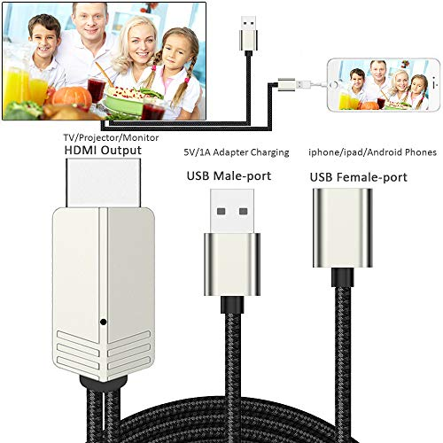 HDMI zu Phone, Kompatibel mit iPhone zu HDMI Kabel für TV Projektor Monitor, 1080P HDTV mit Ladeanschluss für iPhone, iPad, Android Telefone Telefon Iphone