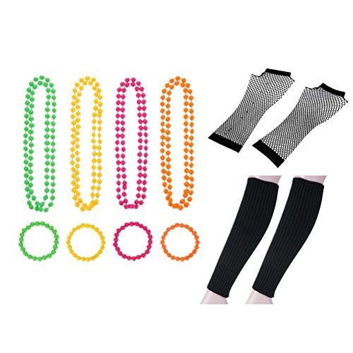 Retro Kostüm 1980 - STOBOK 80er Kostüm Set Neon Halskette Armbänder Netzhandschuhe Beinhülsenfür 80er Jahre Party Kostüm liefert (Schwarz)