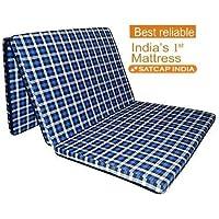 "SATCAP INDIA 45MM Three Fold Single Size Foam Mattresses (72"" X 35"" X 1.77"",Checkered)"