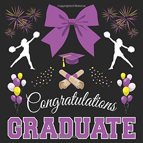 Cheerleader Graduation Guest Book: Congratulations Graduate GuestBook + Gift Log | Cheerleading Girls Class of 2019 Graduation Party Memory Sign In Keepsake Journal | Black Purple Cover