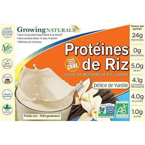 Protéines biologique de riz cru germé vegan et non OGM saveur vanille 930g