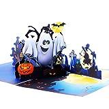 Xhuan 2 Sets 3D Halloween Pop Up Grußkarte Geistermodell Kürbis Handkarte mit Umschlag für Halloween-Party, 5,9 x 5,9 Zoll
