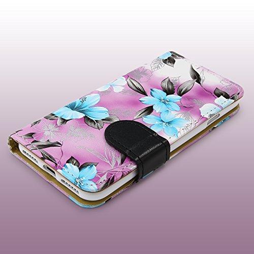 Urcover® Apple iPhone 7 / 8 Blumenmuster Schutz-Hülle mit [ Kartenfächer & Easy Stand-Funktion ] Kunststoff in Weiß | Rundum-Schutz Case | Cover | Lady Wallet | Etui Schale | Kompllet-Tasche Lila