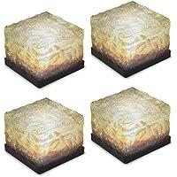 [Patrocinado]Tomshine Luz Solar 4pcs IP65 Impermeable Sensor de Luz Creativa de Vidrio de Piedra Cubo de Hielo Solar Powered Brick Cristal LED Lámpara de Noche para Jardín Patio Sendero Patio Piscina Estanque Decoración al Aire Libre Xmas [Blanco cálido]