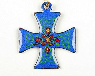 Pendentif croix de Malte bleue émail sur cuivre