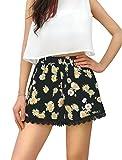 Allegra K Women's Floral Prints Lace Hem Design Daisy Shorts L Black