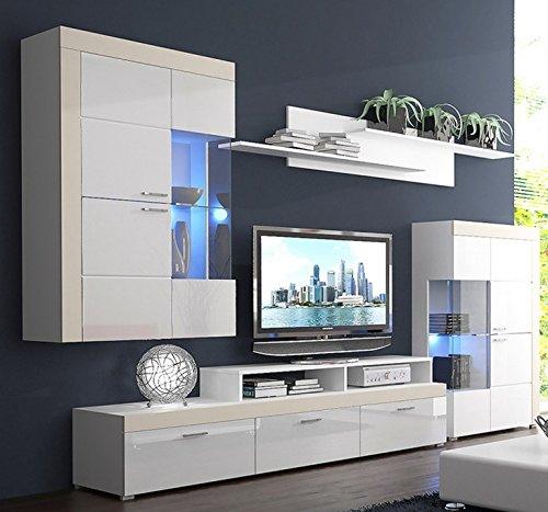 Wohnwand PABLO, Anbauwand, Wohnzimmer Möbel, mit Beleuchtung