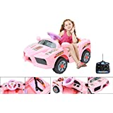 6V electric car with parental remote control -Pink electric Ferrari for children