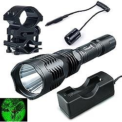 Verde claro caza linterna táctica de la antorcha conjunto Kit + cargador + táctico remoto + montaje del alcance del rifle