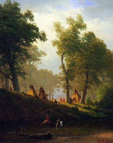 Das Museum Outlet-Wolf River, Kansas by Bierstadt, gespannte Leinwand Galerie verpackt. 29,7x 41,9cm