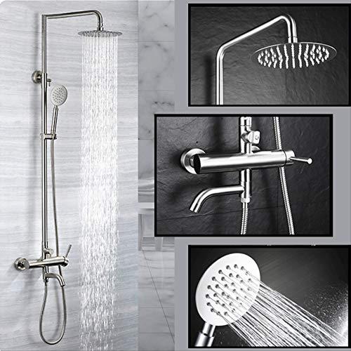 WDXDP Wasserhahn 304 Edelstahl Badezimmer Regen Dusche Set Out Wall Mounted 8-Zoll-Bad Dusche Wasserhahn Qualität Gebürstet Einfaches Design - Thermostatische Wall
