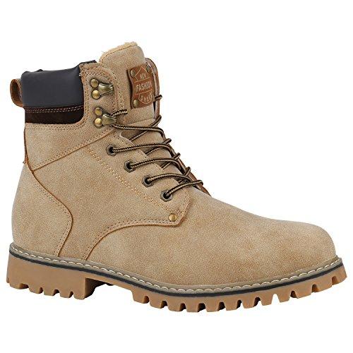 Stiefelparadies Herren Schuhe Worker Boots Outdoor Profilsohle Gefüttert 152456 Creme Carlton 45 Flandell