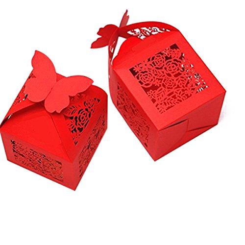 WINOMO Sposa Favore Scatole Roses Laser Taglio Bomboniera con Nastri Nuziale Doccia Partito Favori 50pz (rosso)