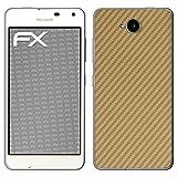 atFolix Microsoft Lumia 650 Skin FX-Carbon-Gold Designfolie Sticker - Carbon-Struktur/Carbon-Folie