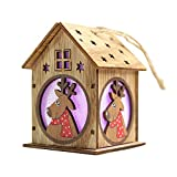 Festnight Christmas Luminous Wooden House with Colorful LEDs Light DIY Wood Chalet Christmas Tree Hanging Ornaments Xmas Festival Holiday Decorations Gifts