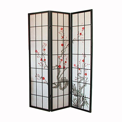 Homestyle4u 3 fach Paravent Raumteiler - Holz Trennwand Shoji in schwarz mit Kirschblüten - Muster