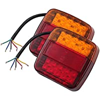 Justech 2PCS Luces Traseras Remolque 12V LED Piloto Trasero de 5 Funciones Luz de Matrícula Placa Trasera Luz de Freno para Remolque Camion Van Caravan E-Mark