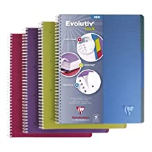 Clairefontaine 329155C Wire Bound Subject Notebooks, A4+, Squared, 120 Sheets, 90 g - Assorted Colours, Pack of 5