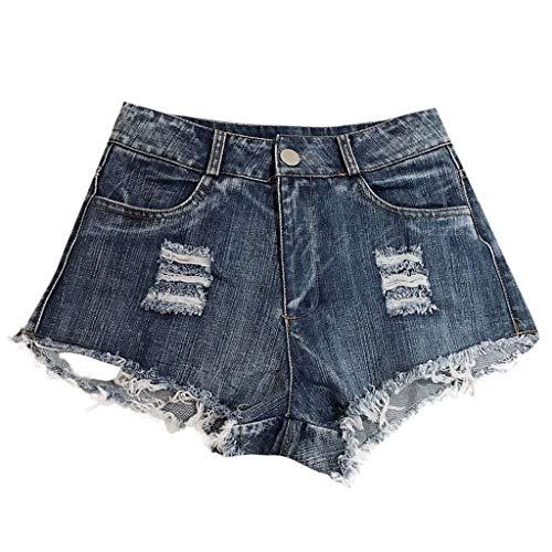 Sexy Shorts Damen Ripped Jeans Sommerjeans mit hoher Taille und Fransen für Damen Sport Elastic Damen Denim Pants Hosen Jeans ()