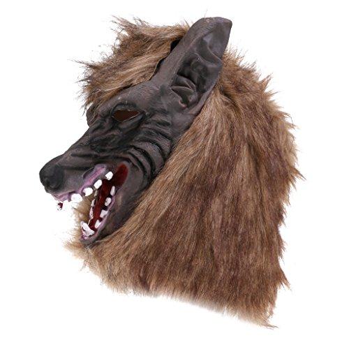 Imagen de gazechimp máscara disfraz de lobo para halloween de color marrón mujeres hombres espeluznante