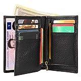 Portefeuille Homme RFID Blocage,Lensun Bifold Portefeuille en Cuir Pur pour Monnaie   Titulaire de Carte de Crédit   Portefeuille de Voyage avec Boîte de Cadeau - Noir (LS-ZB-BK)