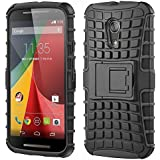 Heavy Duty Rugged Kickstand Armor Case For Motorola Moto G2 (Black) By Bluezilla