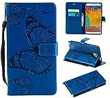 Hozor Samsung Galaxy Note 3 / SM-N9000 Handyhülle, Retro Großer Schmetterling Muster PU Kunstleder Ledercase Brieftasche Kartenfächer Schutzhülle mit Standfunktion Magnetverschluss Flip Cover Tasche, Blau