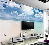 Yosot 3D-Tapeten Fototapete Benutzerdefinierte Wandbild Wohnzimmer Blue Sky White Cloud Strand Meerblick Foto Hintergrundbild Für 3D-Wand-250Cmx175Cm