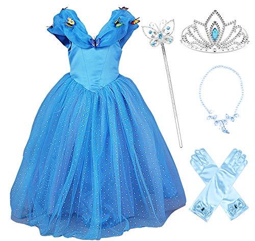 JerrisApparel Aschenputtel Kleid Prinzessin Kostüm Schmetterling Mädchen (120, Blau mit - Kostüm Mit Blauen Kleid