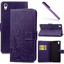 COTDINFOR Sony Xperia Z2 Coque Housse Fille Élégant Rétro Fait Main Portefeuille avec Béquille de Carte de crédit Magnétique Flip Étui Cuir pour Sony Xperia Z2 Clover Purple SD