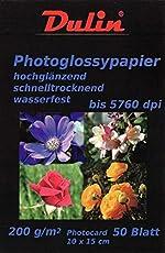 50 Blatt Fotopapier 200g/m² Hochglänzend weiß 10x15 Karte