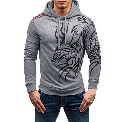 UJUNAORHerren Herbst Winter Bedruckt Langarm mit Kapuze Sweatshirt Tops Bluse(XL,Grau)