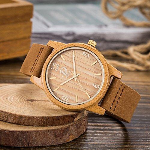40mm Holz Armbanduhr für Herren und Damen, echtes Leder-Bügel Band Business Casual Armbanduhren, Japanisches Miyota Quarzwerk Bewegung Vintage Natürliche Holz Uhren (Bambus) - 2
