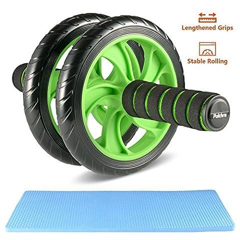 Pulchra AB Roller Wheel, perdre du ventre Graisse, la force de construction de muscles, Strong-grip & Silent abdominal exercice Rouleaux Roues, ventre équipement d'entraînement fitness ou pour AB s'Étire avec tapis de genou, Green