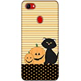 For Oppo F7 Yellow Halloween ( Yellow Halloween, Black Cat, Yellow Halloween With Black Cat, Stripes, Pattern, Polka ) Printed Designer Back Case Cover By King Case