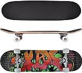 "vidaXL Oval Shape Skateboard 9 Ply Maple Graffiti Design 8"""