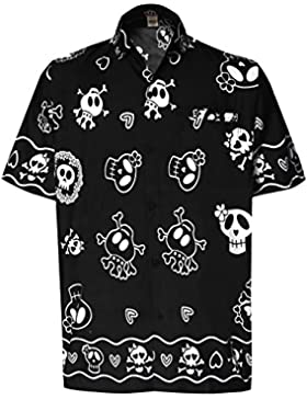 *La Leela* Pulsante Casual Cranio Spiaggia Spaventoso Giù Camicia Hawaiana Uomini Aloha Nero