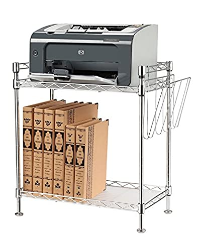 Steel Kitchen Counter Shelf - Wire 2 Shelving Unit Free Standing (Silver)