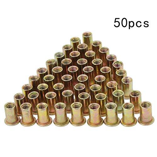 Aussel Verzinktes Carbon-Stahl-Niet-Nuss-Flachkopf-Gewinde-Niet Nutsert-Kappe M6x15MM 50 Stück (NUT5-M6-50PCS)