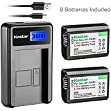 Kastar Camera Batteries (Pack Of 2) With LCD USB Charger For NP-FW50 & Sony Alpha 6300 Alpha 6500 ILCE-QX1 Alpha 7 7R 7R II 7S A7R A7S A7R II A5000 A5100 A6000 A6300 NEX-7 DSC-RX10 DSC-RX10 II III 7SM2 ILCE-7R 7S