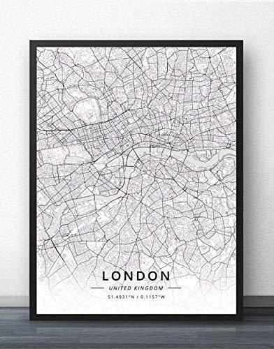NBHHDH Leinwand Bild,Nordic Großbritannien London Stadtplan Drucken Schwarz Weiß Einfache Wort Poster Leinwand Gemälde An Der Wand Bild Cafe Wohnzimmer Home Die Einrichtung Kinder Zimmer