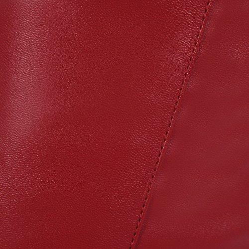 VogueZone009 Femme Rond Couleur Unie Haut Élevé à Talon Haut Bottes Rouge