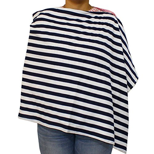 Kadambaby - Premium Nursing Cover / Breastfeeding Poncho / 100% Cotton - Black Stripes. Stylish Nursing poncho / can be used as Stole/Scarf
