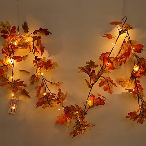 Solike LED Beleuchtete Lichterkette Herbst Kürbis Ahorn Blätter Girlande für die Danksagung/Halloween Licht Dekoration (1.5M) (Beleuchtete Halloween-kürbis Dekoration)