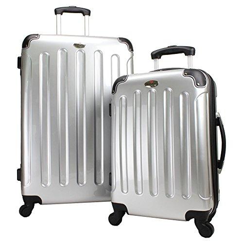 SWISSCASE Bagages 2x Valises Rigides à Roulettes Argent