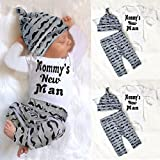 SHOBDW Boys Clothing Sets, 3PCS Newborn Baby Boy Cute Set Romper Tops+Long Pants Hat Outfits Clothes