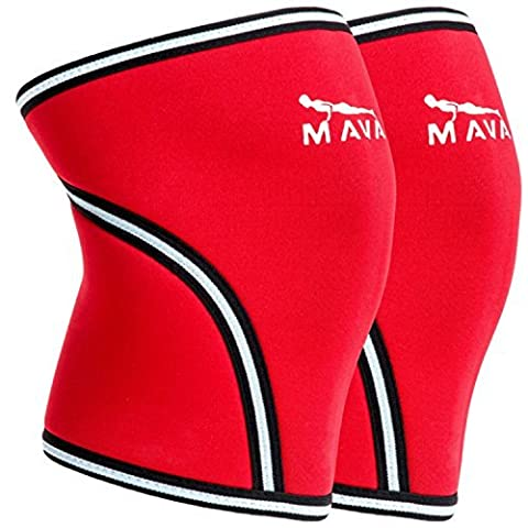 Mava Sports Squat Knee Support and Compression Knee Brace for Powerlifting, Ultra Flexible, Red M